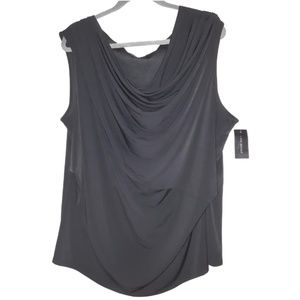 Black sleeveless blouse ruched cascade front